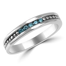 Blue Diamond Mens Channel Wedding Ring Band
