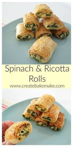 These Spinach and Ricotta Rolls make the perfect easy snack or dinner and best of all they are freezer friendly. Both Conventional and Thermomix instructions included. snacks for dinner Easy Spinach and Ricotta Rolls Savory Snacks, Easy Snacks, Healthy Snacks, Easy Meals, Kids Meals, Healthy Cooking, Easy Cooking, Cooking Light, Cooking For Kids