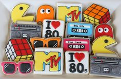 80s cookies, pacman, MTV, mix tapes, boombox