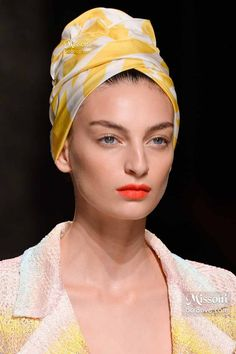 Missoni Spring 2015 - Yellow Printed Hair Turban - these are pretty IF you can pull off wearing them~
