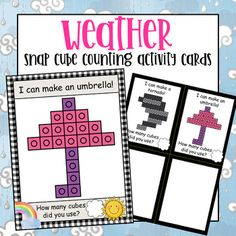 Weather Snap Cube Activity Counting Mats + Snap Cube Mini Cards by Little Olive Kindergarten Classroom, Classroom Ideas, Fast Finishers, Weather Seasons, Counting Activities, Dry Erase Markers, Head Start, Some Fun, Cubes
