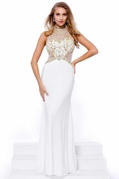 White Long Prom Dress with Beaded Bodice