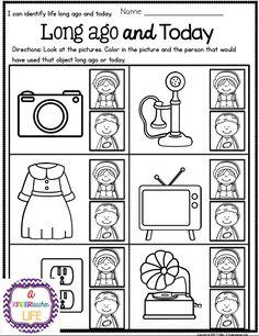 best kindergarten social studies images in   teaching ideas  social studies life long ago and today for kindergartenst grade  color  in the