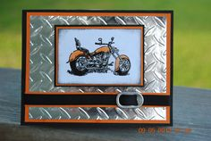 Handcrafted Masculine Motorcycle Harley Colors Father's Day, Birthday, Love,Thinking of You Card Masculine Birthday Cards, Birthday Cards For Men, Man Birthday, Masculine Cards, Stampin Up Karten, Stampin Up Cards, Boy Cards, Men's Cards, Fathers Day Cards
