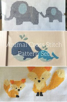 Animal cross stitch pattern set This cute animal cross stitch set includes an elephant cross stitch pattern, a whale cross stitch pattern, and a fox cross stitch pattern. These patterns are great for a nursery or baby room. The patterns come as a set so that you can stitch them together. You can find this set at LeiaPatterns.com here: https://leiapatterns.com/products/cute-animal-cross-stitch-pattern-set