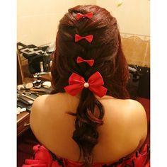 Wedding dinner hairdo, french braid with bows  Bride: Hui Jing ✨