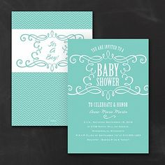 Your choice of background color makes the swirly design on this baby shower invitation even sweeter! Chevrons on the back add more style. #BabyShower