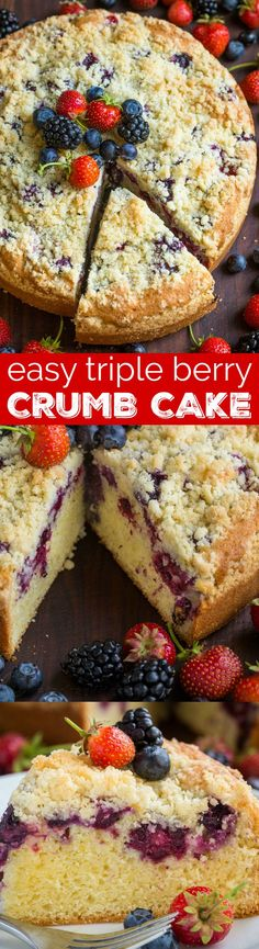 Must-try Berry Crumb Cake Recipe with a buttery crunchy topping, juicy layer of strawberries, blueberries and blackberries and a soft, airy cake. This crumb cake rises beautifully and looks stunning. No one has to know it was SUPER EASY. One of our top easy cake recipes! | natashaskitchen.com #berrycake #cakerecipes #recipes #cake #crumbcake #dessert #berryrecipes #blueberrycrumbcake #strawberrycake