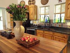 knotty pine kitchen mexican tile backsplash