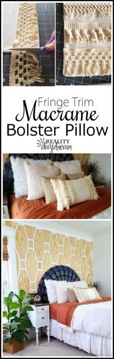 Make this simple bolster throw pillow using a plain pillow cover, macrame tassel fringe trim, and fabric glue (no sew!) - Reality Daydream