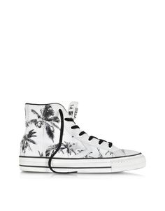 Converse Limited Edition Star Player Ev High Top Black/White Palms Printed Canvas and Leather Sneaker at FORZIERI
