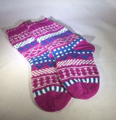 Hand Knit Socks, Women's Socks, Girl's Socks, Wool Socks, Warm Winter Socks, Unique Holiday Gift, Fair Isle Socks