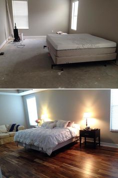 "Top Makeovers: ""DIY, very straightforward install. Love the final look!"" [Tobacco Road Acacia Hardwood] http://remodel.lumberliquidators.com/detail/7-16-x-4-3-4-tobacco-road-acacia-easy-click-engineered-flooring-trinity-fl"