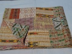 Indian Quilt -Vintage Quilt Old Patola Indian Silk Sari Kantha Quilted Patchwork #Handmade