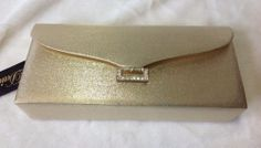 NWT - Shimmer Gold Dress Formal Satin Like Clutch Purse