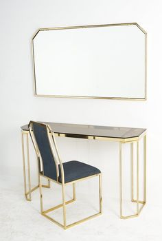 Italian Vanity set with accompanying mirror and chair, in brass willy rizzo… Steel Furniture, Home Decor Furniture, Table Furniture, Cool Furniture, Furniture Design, Furniture Dolly, Living Room Decor, Bedroom Decor, Dressing Table Design