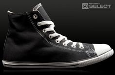 Converse - have to be slim. Mine are suede in black. Converse Chuck Taylor High, Converse High, High Top Sneakers, Dream Shoes, Chuck Taylors High Top, High Tops, Slim, Black, Fashion