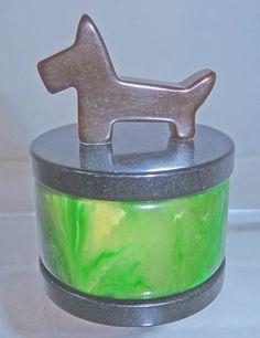 Deco BAKELITE JEWELRY RING BOX TRINKET JAR Vintage Vanity, Casket, Vanity Set, Green And Brown, Trinket Boxes, Vintage Antiques, Jewelry Rings, Perfume Bottles, Jar