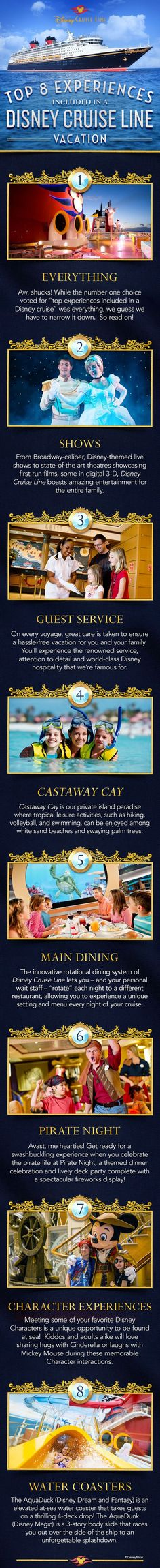 From Broadway-caliber shows to Castaway Cay, Disney Cruise Line's private island paradise, check out these Top 8 Experiences that are included in your Disney cruise. disney cruise, crusing with disney #disney #cruise #cruisi