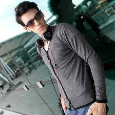 Men's fashion slim v-neck long sleeve sweater coat