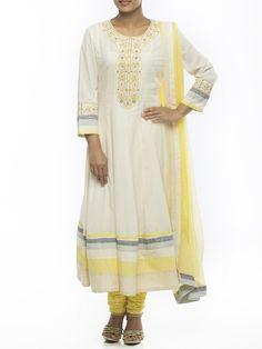 Cream Cotton Kalidar Suit Set