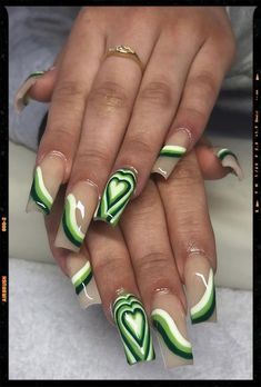 Colourful Acrylic Nails, French Tip Acrylic Nails, Bling Acrylic Nails, Summer Acrylic Nails, Best Acrylic Nails, Acrylic Nails With Design, Acrylic Nails Green, Acrylic Nail Designs, Heart Nail Designs
