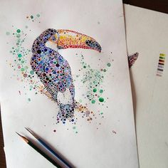 Ilustración de tucán. Hecha con Puntos por Ana Enshina