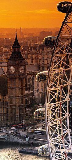 The London Eye and Big Ben, London, UK