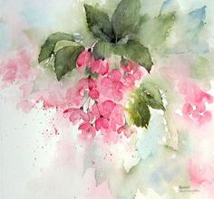 Pink Blossom, a watercolor painting by Rachel McNaughton Watercolor Pictures, Watercolor Cards, Abstract Watercolor, Watercolour Painting, Watercolor Flowers, Watercolours, Art Floral, Pink Blossom, Abstract Flowers