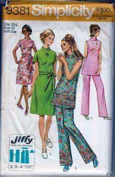 64f7d1be9b73e2 Simplicity 9381 Vintage 1970 s Sewing Pattern Ladies High Neck Jiffy Dress  Pants Half Sizes