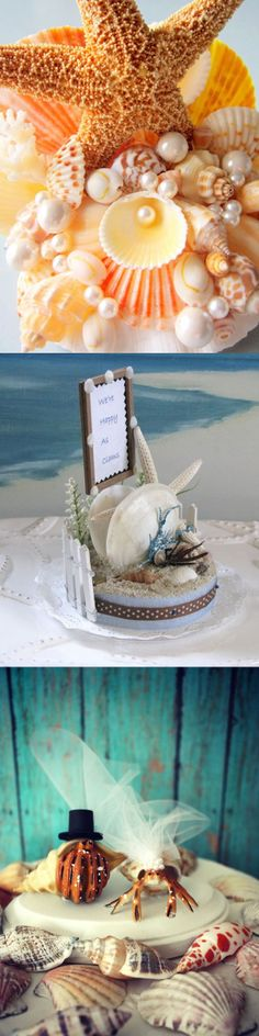 Beach Wedding Cake Topper, starfish, shell