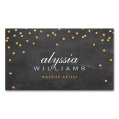 CUTE mini confetti gold sparkly glitter chalkboard Business Cards. This is a fully customizable business card and available on several paper types for your needs. You can upload your own image or use the image as is. Just click this template to get started!