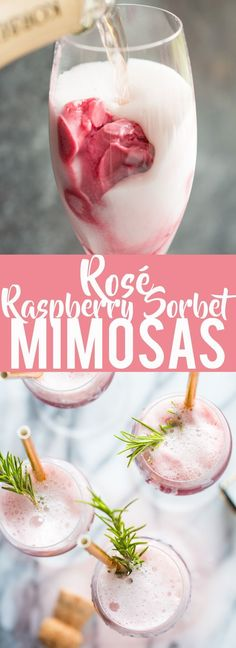 Rosé Raspberry Sorbet Mimosas are a fun cocktail for Mothers Day, bridal showers, brunch or just a girls get together. These girly cocktails are so easy to make and everyone will love them! | Bridal Shower drinks | Mothers Day drinks | Brunch cocktails #drink #juice #boisson