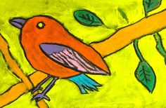 great idea, esp. if have class field trip to zoo, have them photo graph their favorite bird, then have them do this project using their photo/bird.  or if can't do a project, have them bring in a photo of a bird they like
