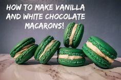 How to make vanilla and white chocolate macarons! Vanilje og hvit sjokolade m. White Chocolate, Macarons, Cucumber, Watermelon, Vanilla, Fruit, Vegetables, How To Make, Food