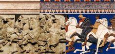 Friso de las Panateneas, Partenón, Acrópolis de Atenas, Grecia Detalle del friso septentrional, Bloque XLIII, figuras 118, 119, 120, 121, 122, 123 y 124 Fidias