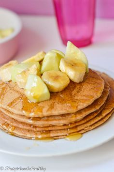 Buckwheat pancakes recipe - Kick start your day with these delicious wheat and dairy free pancakes with a sweet apple and cinnamon topping. Dairy Free Pancakes, Pancakes And Waffles, Buckwheat Pancakes, Vegan Pancakes, Great Recipes, Amazing Recipes, Favorite Recipes, Dessert Recipes, Brunch Recipes