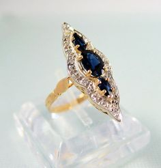 SOLD Vintage solid gold sapphire ring Three stone by MidwestArtObjects, $1320.00