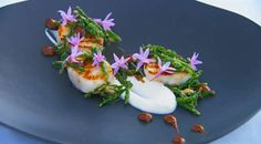 MasterChef Australia (Season MasterClass with George Calombaris: Scallops with Sea Vegetables and Cauliflower Puree Pureed Food Recipes, Fish Recipes, Vegetable Recipes, Seafood Recipes, Healthy Recipes, Yummy Recipes, Masterchef Recipes, Masterchef Australia, Cauliflower Puree