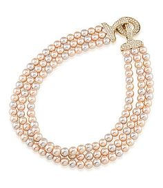 Carolee Plaza Pink Pearl and Crystal Triple Row Necklace #Dillards