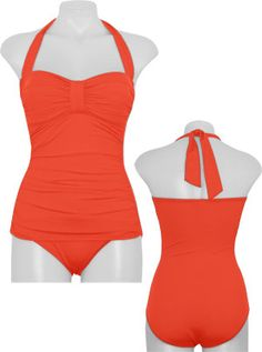 Tommy Bahama Pearl Solids Halter One Piece Swimsuit in Coral