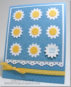 Blue and yellow, flowers, embossed polka dots, ribbon, get well, patterned paper,