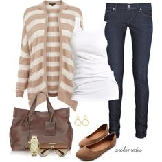 """Casual In My Striped Cardi"" by archimedes16 on Polyvore"