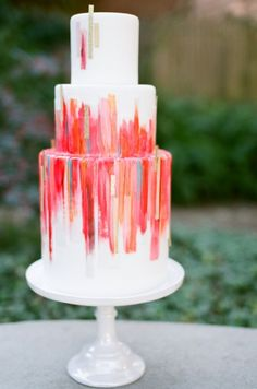 Vivid three tiered wedding cake would look perfect centre stage in your vibrant jewel coloured wedding. Vivid three tiered wedding cake would look perfect centre stage in your vibrant jewel coloured wedding. Beautiful Wedding Cakes, Beautiful Cakes, Colourful Wedding Cake, Orange And Pink Wedding, Watercolor Wedding Cake, Cupcake Cakes, Cupcakes, Naked Cakes, Garden Wedding Inspiration
