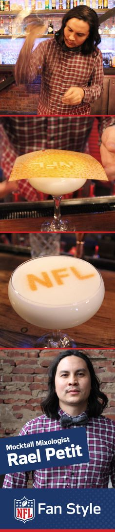 Mixologist Rael Petit whipped up our 32 delicious NFL mocktails – and showed us another trick too. To really go for that extra point at your next Homegating party, break out a team-spirit stencil and spray some bitters over the top of your drink. Lift the stencil and voila!