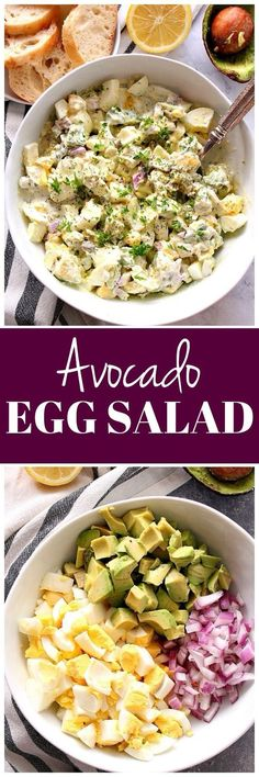 Avocado Egg Salad Recipe - lighter egg salad with avocado, red onion and creamy dressing without mayo! Perfect for sandwiches or as appetizer.