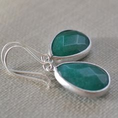 Teal Blue Framed Gemstone Earrings Jade Sterling by leprintemps, $27.00