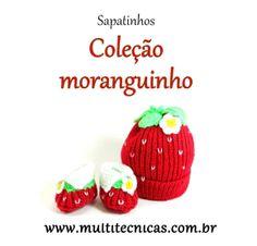 Conjunto gorro e sapatinho - Coleção moranguinho  Vermelho  Confeccionados em tricô, com lã para bebê.  Cor: vermelho/branco e verde     Tamanho: 2 a 6 meses R$ 42,00