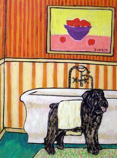 BOUVIER DES FLANDRES DRYING OFF signed dog art print 8x10 animals impressionism #Impressionism