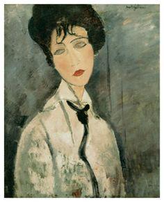 Woman in Black Tie, 1917 Giclee Print by Amedeo Modigliani